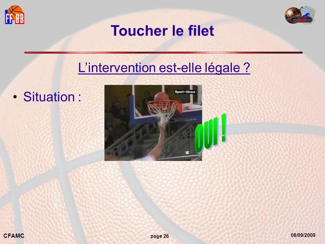 08/09/2009 CFAMC page 26 Toucher le filet Lintervention est-elle légale ? Situation :