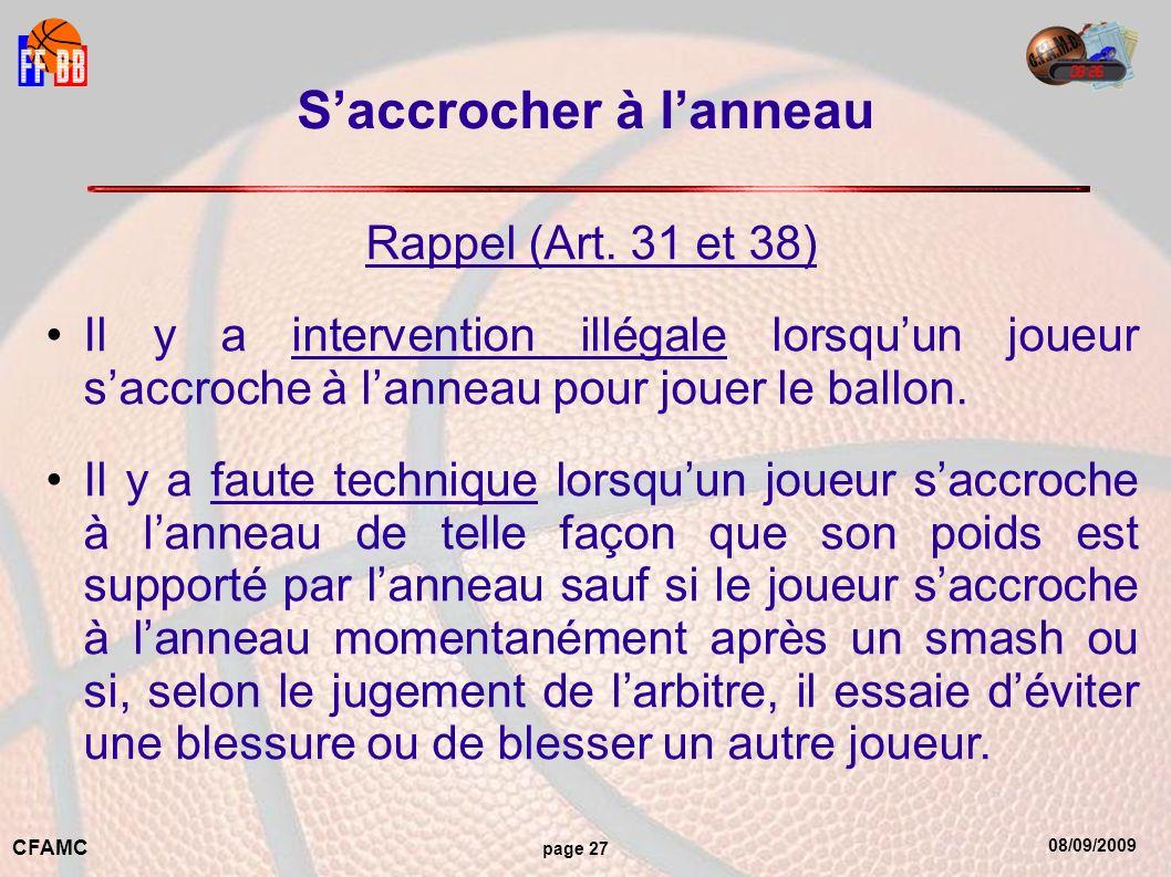 08/09/2009 CFAMC page 27 Saccrocher à lanneau Rappel (Art.