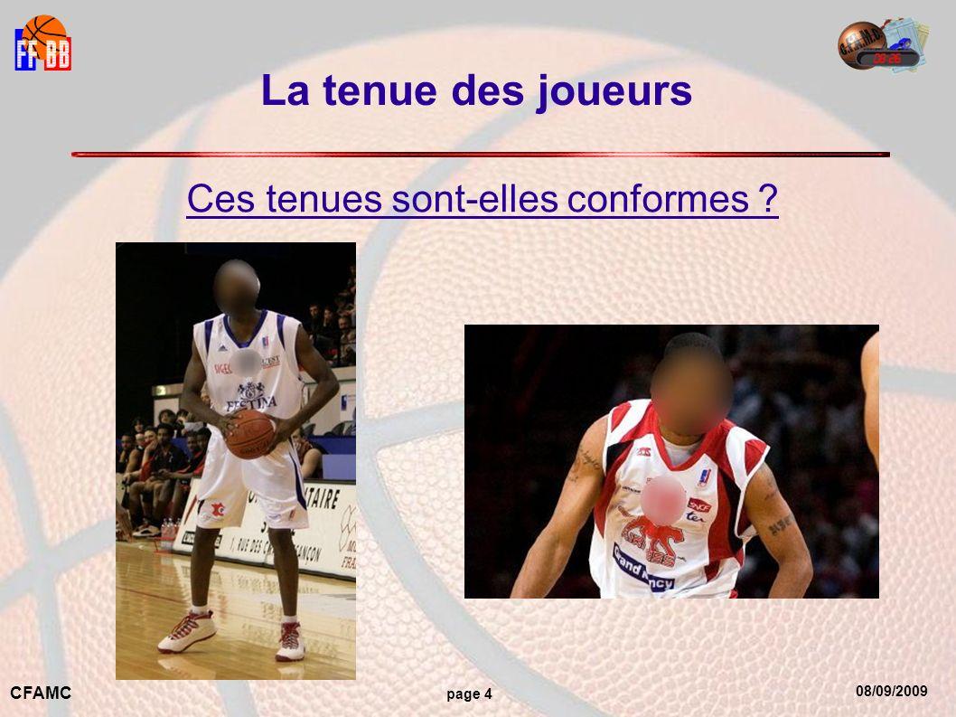 08/09/2009 CFAMC page 4 La tenue des joueurs Ces tenues sont-elles conformes ?