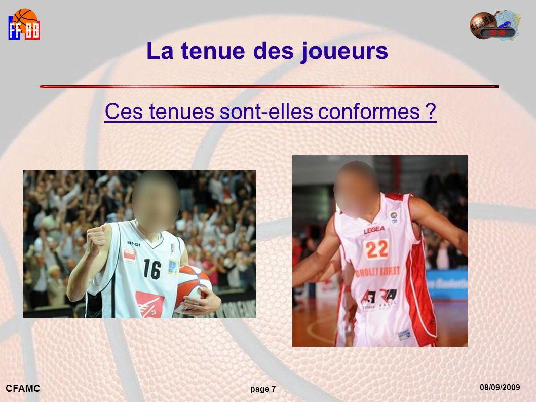 08/09/2009 CFAMC page 7 La tenue des joueurs Ces tenues sont-elles conformes ?
