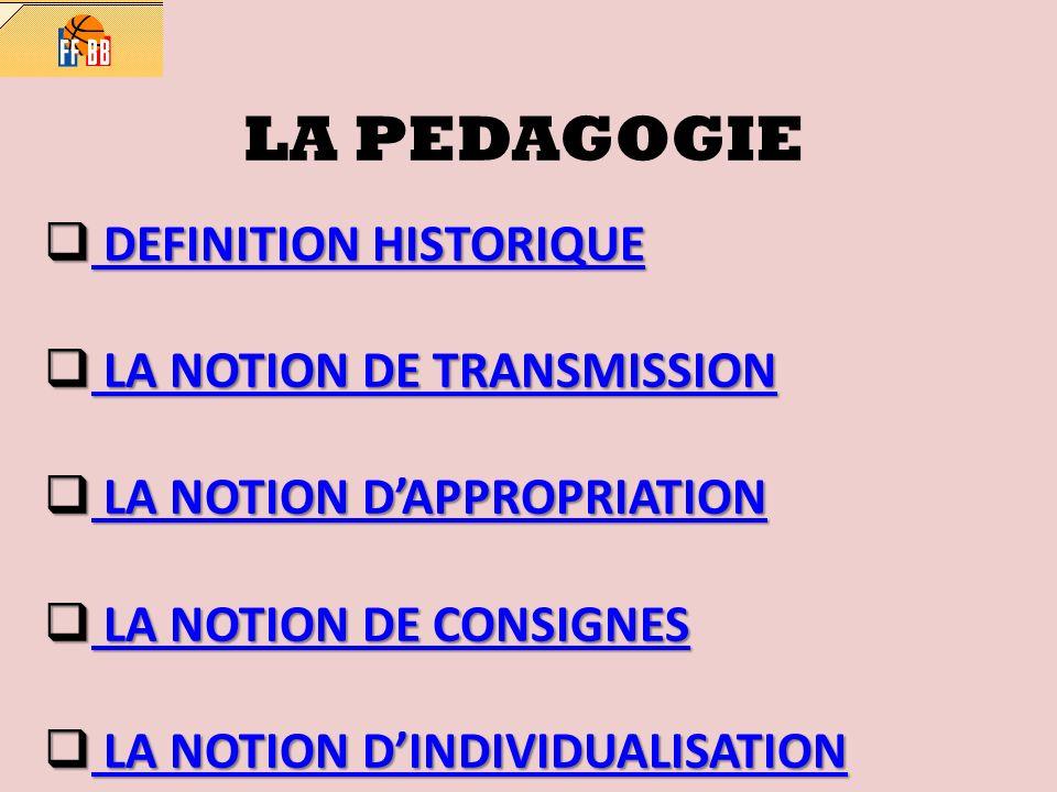 LA PEDAGOGIE DEFINITION HISTORIQUE DEFINITION HISTORIQUE DEFINITION HISTORIQUE DEFINITION HISTORIQUE LA NOTION DE TRANSMISSION LA NOTION DE TRANSMISSION LA NOTION DE TRANSMISSION LA NOTION DE TRANSMISSION LA NOTION DAPPROPRIATION LA NOTION DAPPROPRIATION LA NOTION DAPPROPRIATION LA NOTION DAPPROPRIATION LA NOTION DE CONSIGNES LA NOTION DE CONSIGNES LA NOTION DE CONSIGNES LA NOTION DE CONSIGNES LA NOTION DINDIVIDUALISATION LA NOTION DINDIVIDUALISATION LA NOTION DINDIVIDUALISATION LA NOTION DINDIVIDUALISATION