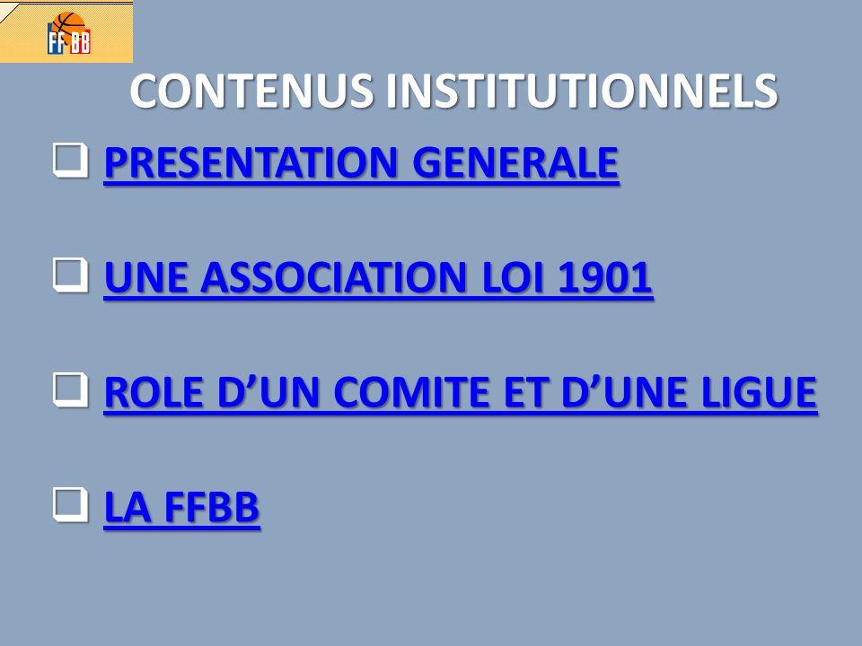 CONTENUS INSTITUTIONNELS PRESENTATION GENERALE PRESENTATION GENERALEPRESENTATION GENERALEPRESENTATION GENERALE UNE ASSOCIATION LOI 1901 UNE ASSOCIATION LOI 1901UNE ASSOCIATION LOI 1901UNE ASSOCIATION LOI 1901 ROLE DUN COMITE ET DUNE LIGUE ROLE DUN COMITE ET DUNE LIGUEROLE DUN COMITE ET DUNE LIGUEROLE DUN COMITE ET DUNE LIGUE LA FFBB LA FFBBLA FFBBLA FFBB