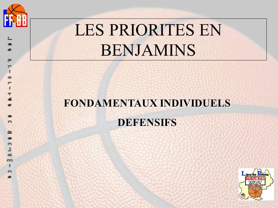 LES PRIORITES EN BENJAMINS FONDAMENTAUX INDIVIDUELS DEFENSIFS