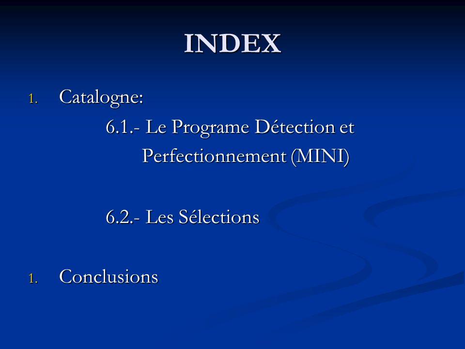 INDEX 1. Catalogne: 6.1.- Le Programe Détection et 6.1.- Le Programe Détection et Perfectionnement (MINI) Perfectionnement (MINI) 6.2.- Les Sélections