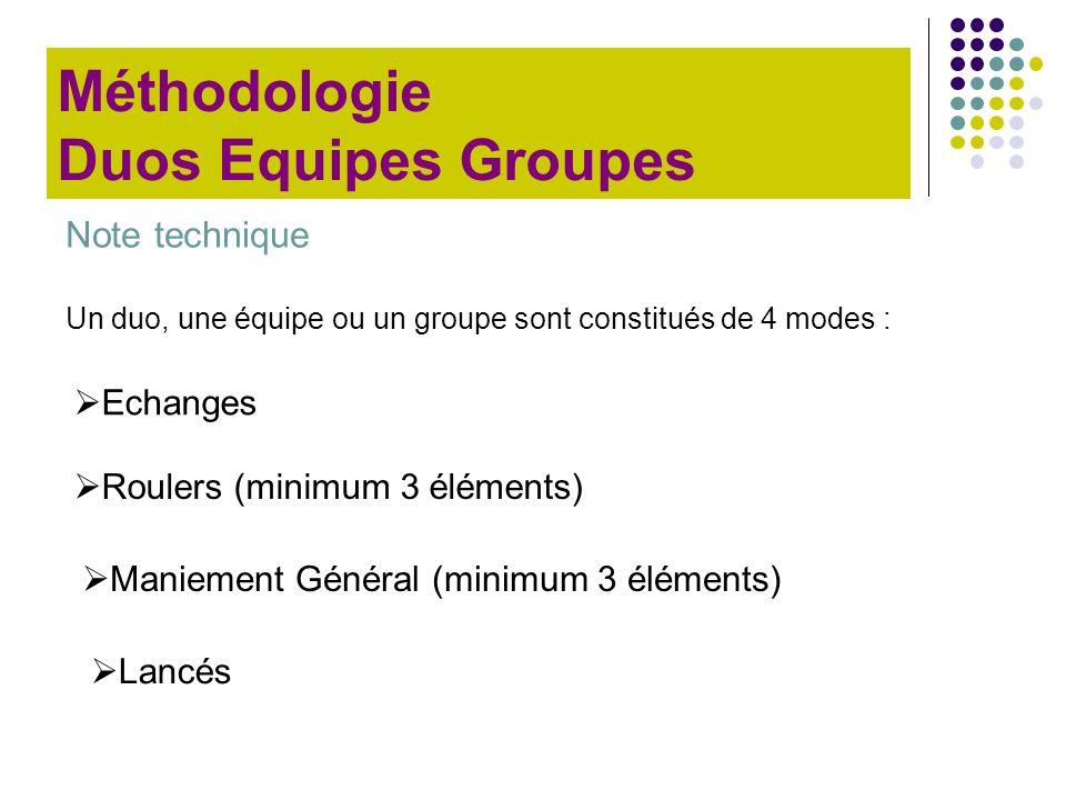 Note technique Un duo, une équipe ou un groupe sont constitués de 4 modes : Lancés Roulers (minimum 3 éléments) Maniement Général (minimum 3 éléments)