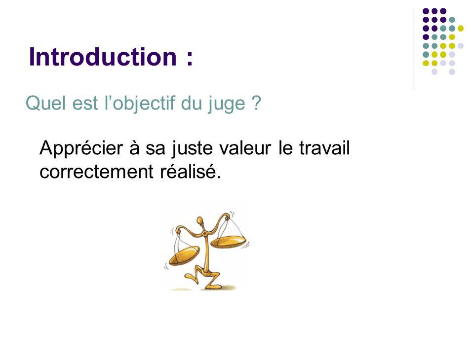 Introduction : Quel est lobjectif du juge ? Apprécier à sa juste valeur le travail correctement réalisé.