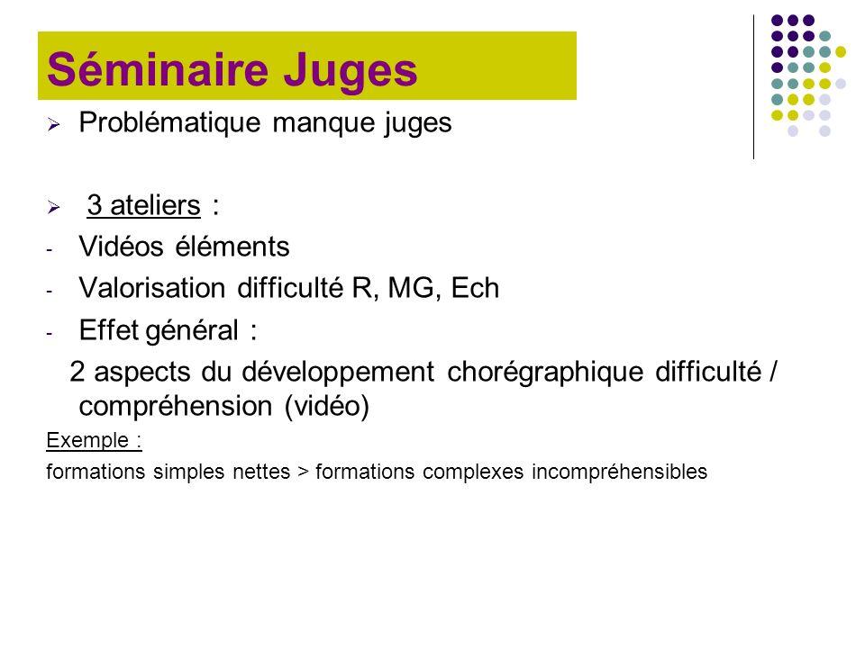 Séminaire Juges Problématique manque juges 3 ateliers : - Vidéos éléments - Valorisation difficulté R, MG, Ech - Effet général : 2 aspects du développ