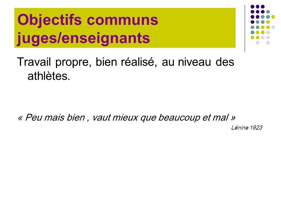 Objectifs communs juges/enseignants Travail propre, bien réalisé, au niveau des athlètes. « Peu mais bien, vaut mieux que beaucoup et mal » Lénine 192