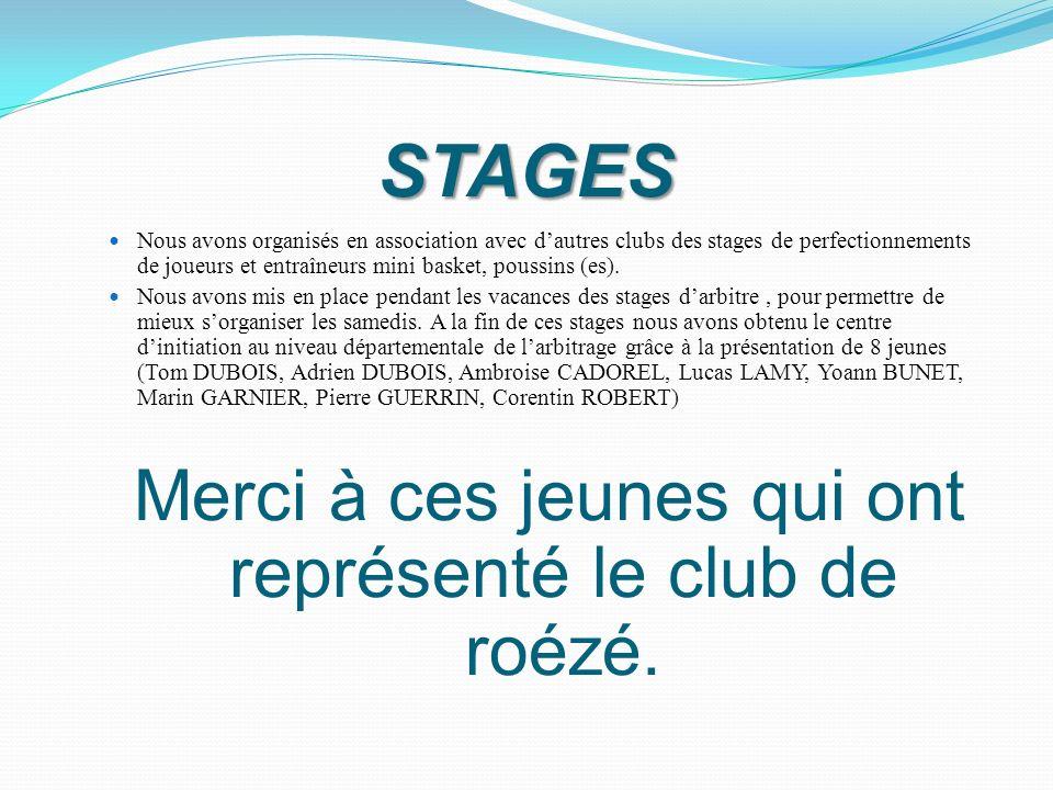 STAGES Nous avons organisés en association avec dautres clubs des stages de perfectionnements de joueurs et entraîneurs mini basket, poussins (es). No