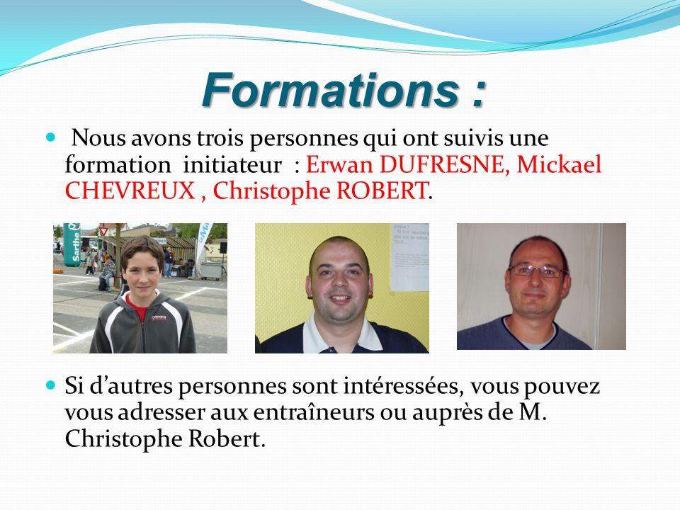 Formations : Nous avons trois personnes qui ont suivis une formation initiateur : Erwan DUFRESNE, Mickael CHEVREUX, Christophe ROBERT. Si dautres pers