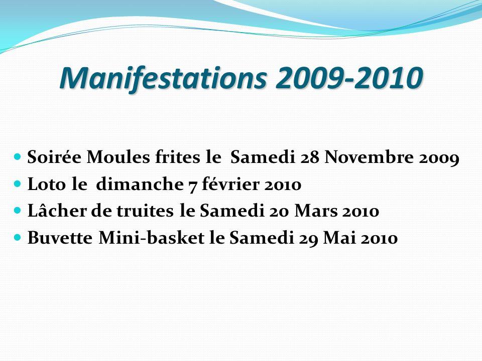 Manifestations 2009-2010 Soirée Moules frites le Samedi 28 Novembre 2009 Loto le dimanche 7 février 2010 Lâcher de truites le Samedi 20 Mars 2010 Buve
