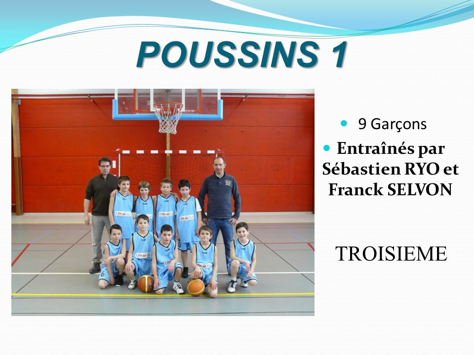 POUSSINS 1 TROISIEME 9 Garçons Entraînés par Sébastien RYO et Franck SELVON
