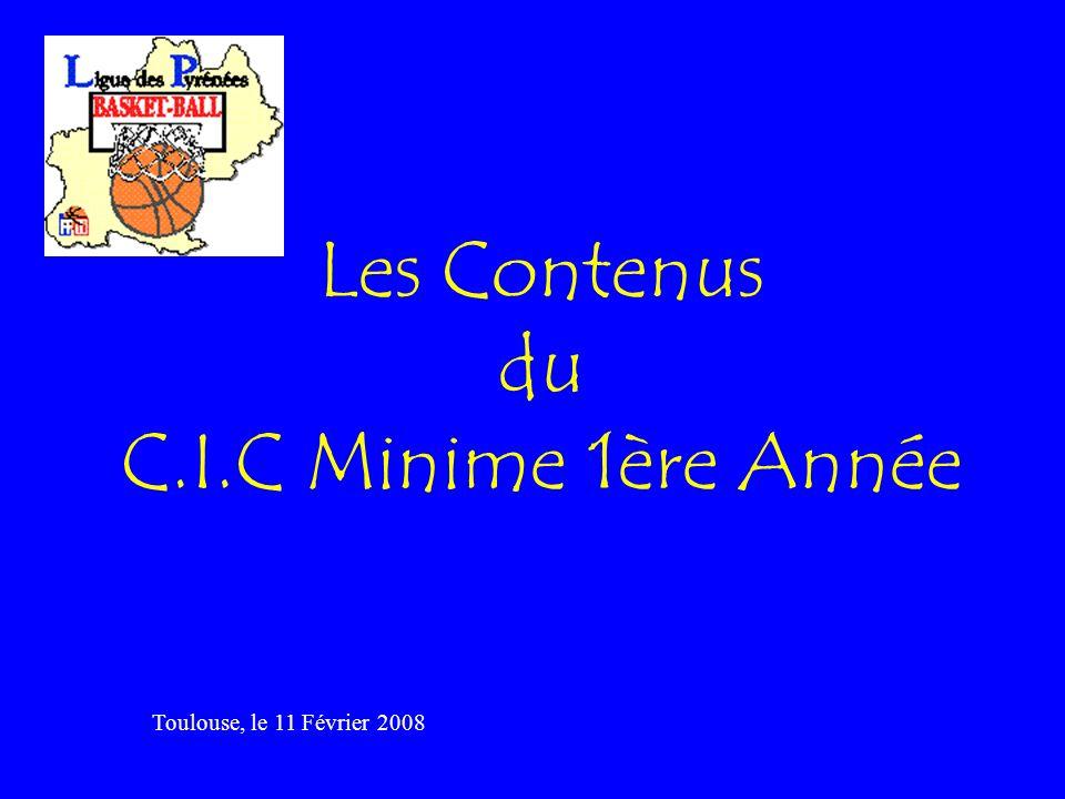 Les Contenus du C.I.C Minime 1ère Année Toulouse, le 11 Février 2008