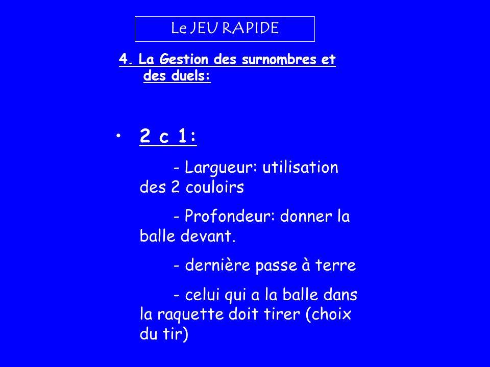 Le JEU RAPIDE 4. La Gestion des surnombres et des duels: 2 c 1: - Largueur: utilisation des 2 couloirs - Profondeur: donner la balle devant. - dernièr