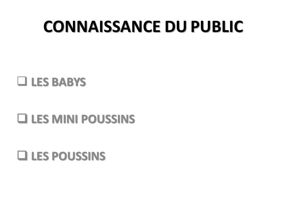 CONNAISSANCE DU PUBLIC LES BABYS LES MINI POUSSINS LES MINI POUSSINS LES POUSSINS LES POUSSINS