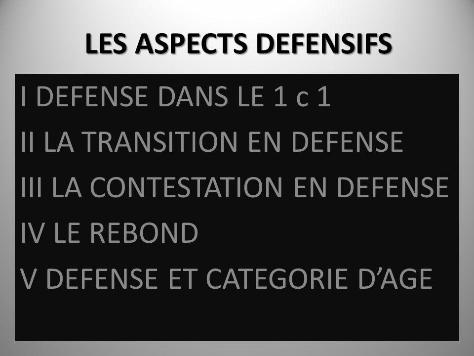 LES ASPECTS DEFENSIFS I DEFENSE DANS LE 1 c 1 II LA TRANSITION EN DEFENSE III LA CONTESTATION EN DEFENSE IV LE REBOND V DEFENSE ET CATEGORIE DAGE