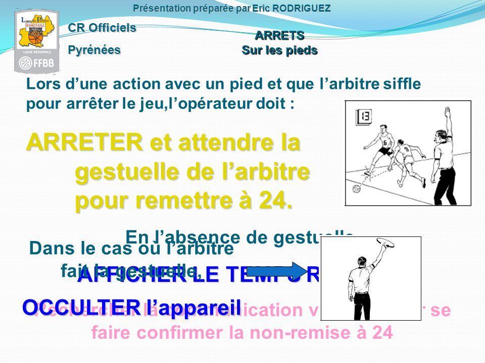 CR Officiels Pyrénées Présentation préparée par Eric RODRIGUEZ Lors dune action avec un pied et que larbitre siffle pour arrêter le jeu,lopérateur doit : ARRETER et attendre la gestuelle de larbitre pour remettre à 24.