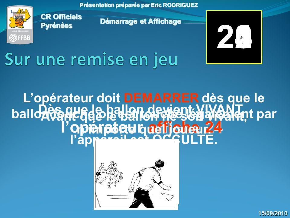 CR Officiels Pyrénées Présentation préparée par Eric RODRIGUEZ 15/09/2010 2423222120 Pendant lexécution du (des) lancer(s) franc(s), lappareil est OCCULTE.