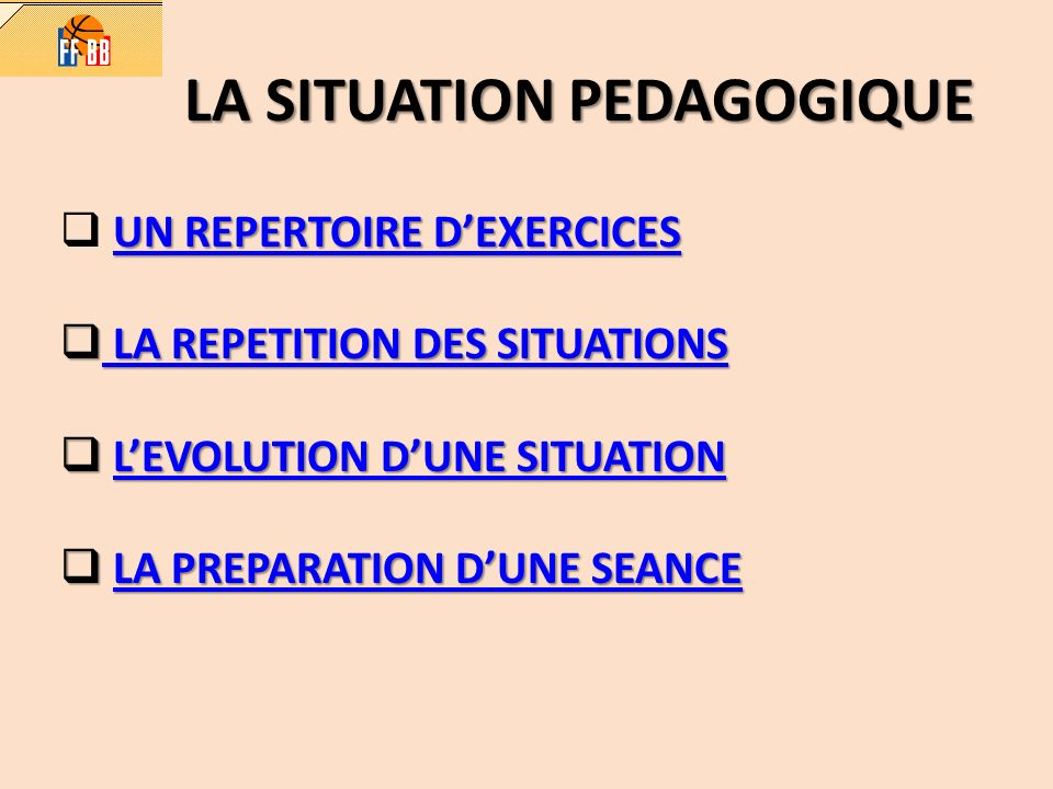 LA SITUATION PEDAGOGIQUE UN REPERTOIRE DEXERCICES UN REPERTOIRE DEXERCICES UN REPERTOIRE DEXERCICES LA REPETITION DES SITUATIONS LA REPETITION DES SITUATIONS LA REPETITION DES SITUATIONS LA REPETITION DES SITUATIONS LEVOLUTION DUNE SITUATION LEVOLUTION DUNE SITUATIONLEVOLUTION DUNE SITUATIONLEVOLUTION DUNE SITUATION LA PREPARATION DUNE SEANCE LA PREPARATION DUNE SEANCELA PREPARATION DUNE SEANCELA PREPARATION DUNE SEANCE