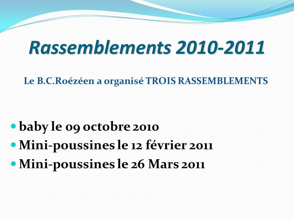 Rassemblements 2010-2011 baby le 09 octobre 2010 Mini-poussines le 12 février 2011 Mini-poussines le 26 Mars 2011 Le B.C.Roézéen a organisé TROIS RASS