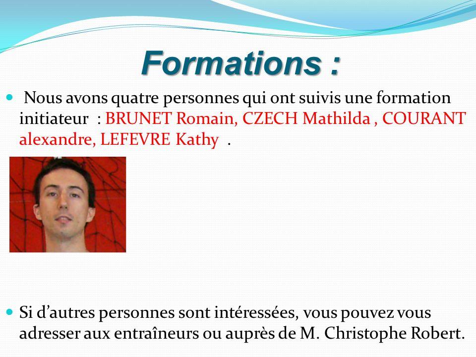Formations : Nous avons quatre personnes qui ont suivis une formation initiateur : BRUNET Romain, CZECH Mathilda, COURANT alexandre, LEFEVRE Kathy. Si