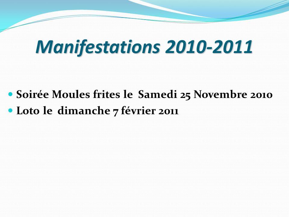 Manifestations 2010-2011 Soirée Moules frites le Samedi 25 Novembre 2010 Loto le dimanche 7 février 2011