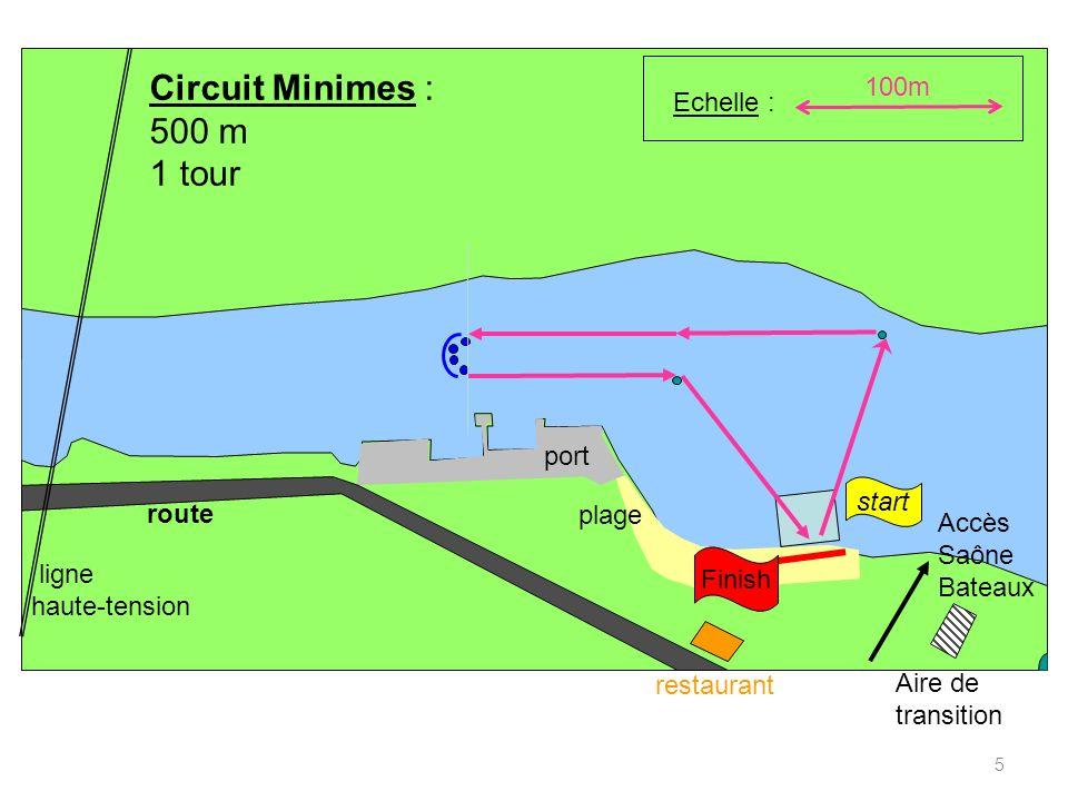 5 100m Accès Saône Bateaux restaurant Aire de transition route port plage ligne haute-tension Echelle : Finish Circuit Minimes : 500 m 1 tour start