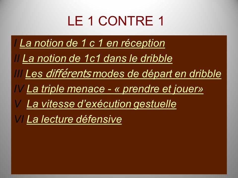 LE 1 CONTRE 1 I La notion de 1 c 1 en réceptionLa notion de 1 c 1 en réception II La notion de 1c1 dans le dribbleLa notion de 1c1 dans le dribble III