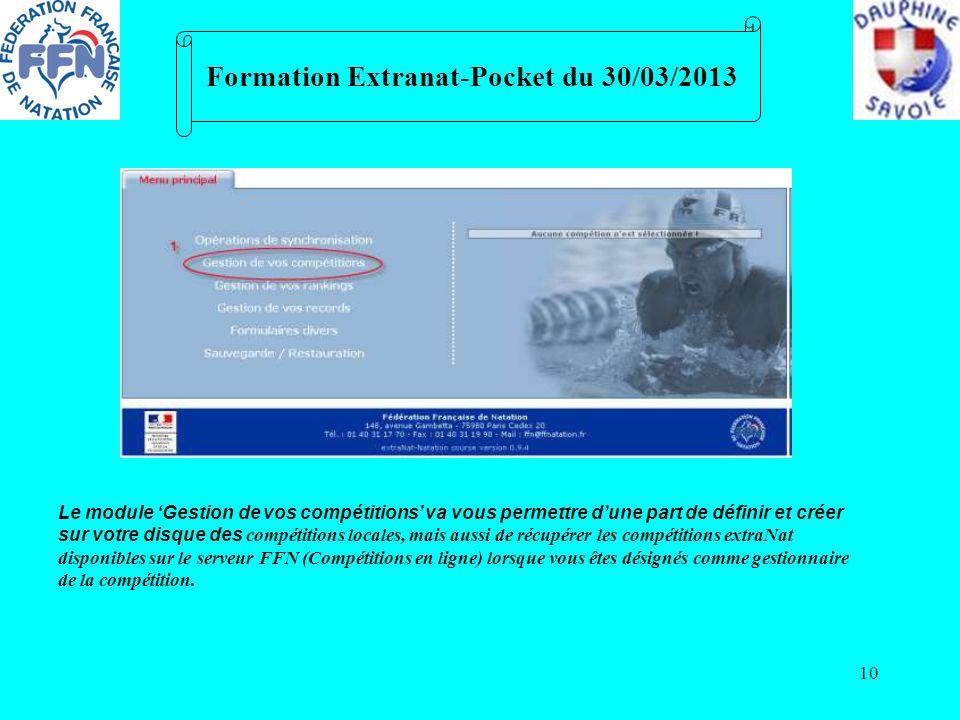 10 Formation Extranat-Pocket du 30/03/2013 Le module Gestion de vos compétitions va vous permettre dune part de définir et créer sur votre disque des