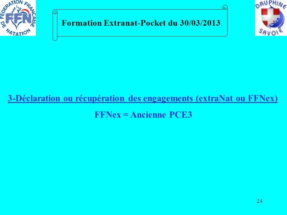 24 Formation Extranat-Pocket du 30/03/2013 3-Déclaration ou récupération des engagements (extraNat ou FFNex) FFNex = Ancienne PCE3