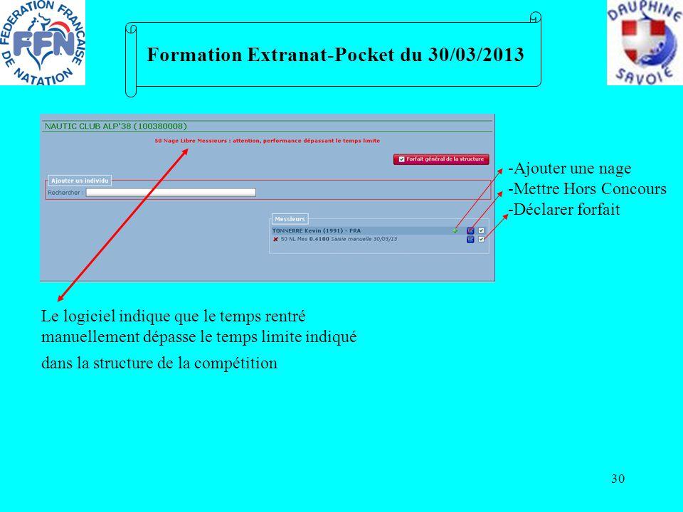 30 Formation Extranat-Pocket du 30/03/2013 Le logiciel indique que le temps rentré manuellement dépasse le temps limite indiqué dans la structure de l