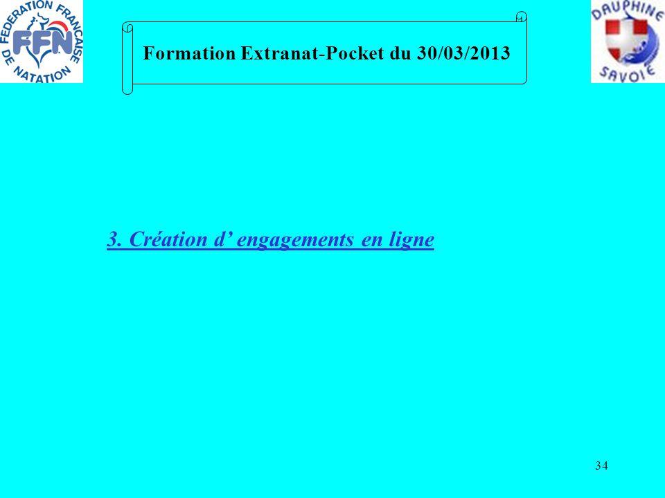 34 Formation Extranat-Pocket du 30/03/2013 3. Création d engagements en ligne