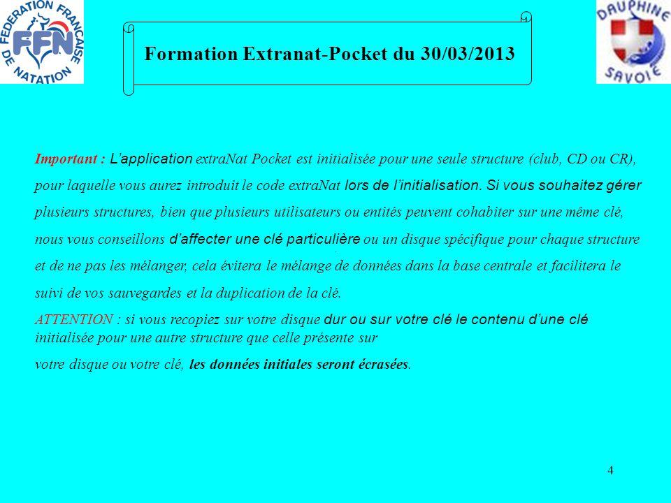 4 Formation Extranat-Pocket du 30/03/2013 Important : Lapplication extraNat Pocket est initialisée pour une seule structure (club, CD ou CR), pour laq