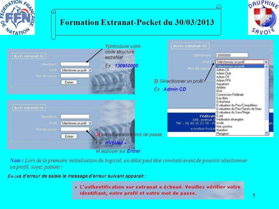 5 Formation Extranat-Pocket du 30/03/2013 1)Introduire votre code structure extraNat Ex : 130950000 2) Sélectionner un profil Ex : Admin CD 3) Introdu