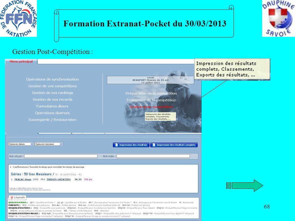 68 Formation Extranat-Pocket du 30/03/2013 Gestion Post-Compétition :