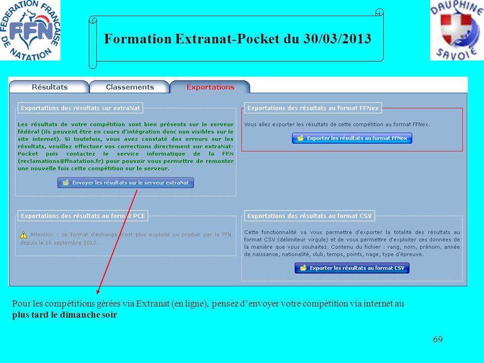 69 Formation Extranat-Pocket du 30/03/2013 Pour les compétitions gérées via Extranat (en ligne), pensez denvoyer votre compétition via internet au plu