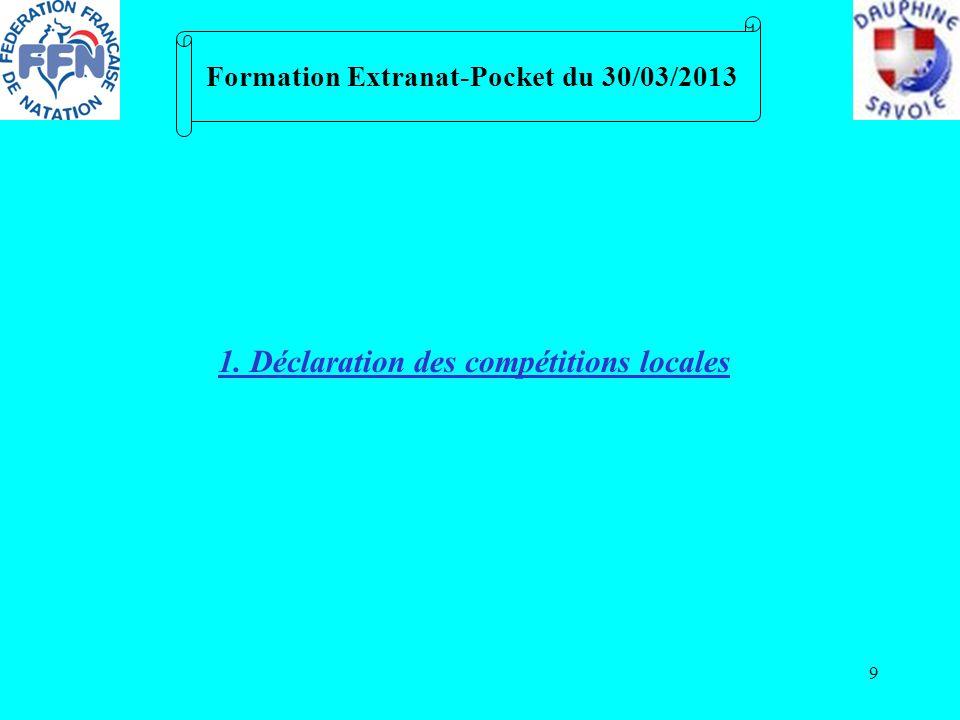 9 Formation Extranat-Pocket du 30/03/2013 1. Déclaration des compétitions locales