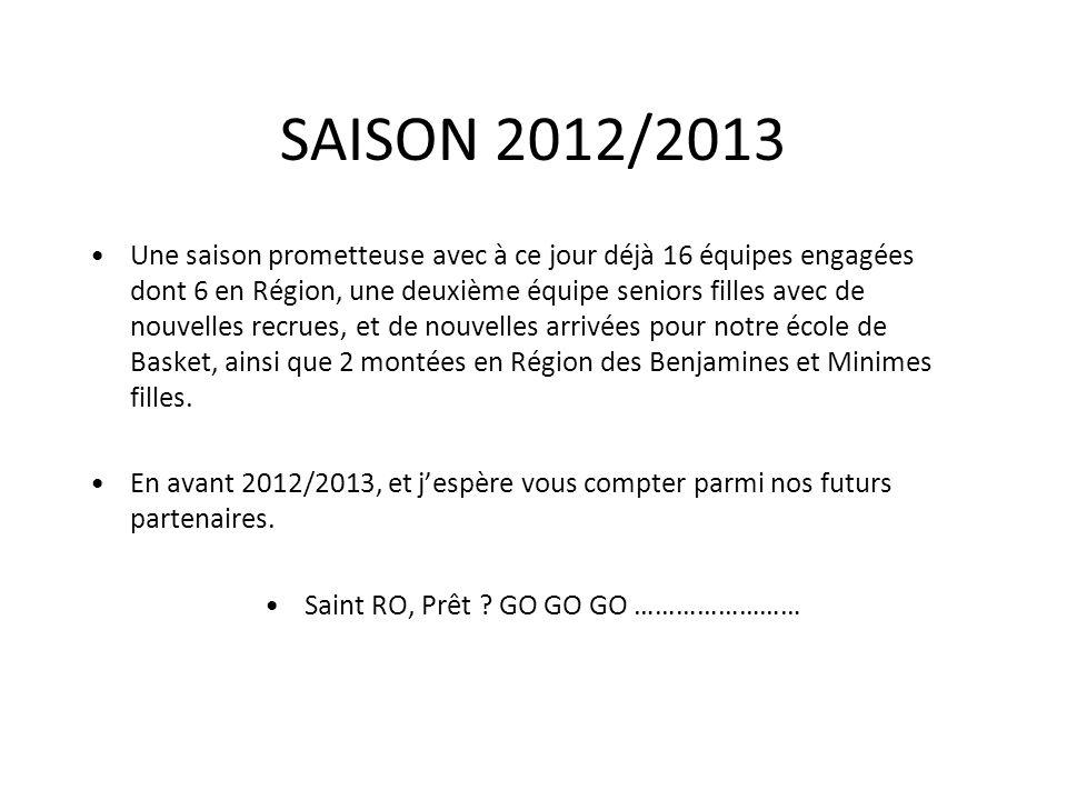 SAISON 2012/2013 Une saison prometteuse avec à ce jour déjà 16 équipes engagées dont 6 en Région, une deuxième équipe seniors filles avec de nouvelles recrues, et de nouvelles arrivées pour notre école de Basket, ainsi que 2 montées en Région des Benjamines et Minimes filles.