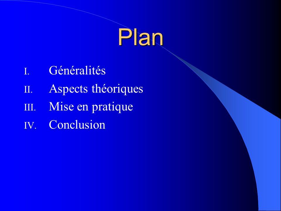 Plan I. Généralités II. Aspects théoriques III. Mise en pratique IV. Conclusion
