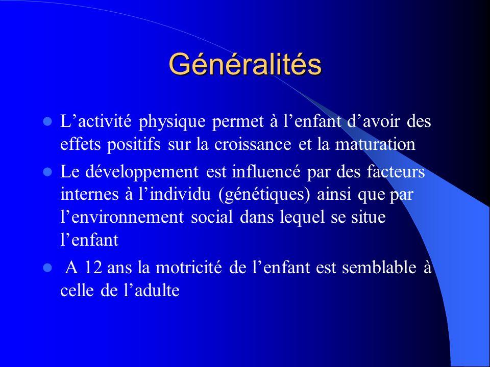 Généralités Lactivité physique permet à lenfant davoir des effets positifs sur la croissance et la maturation Le développement est influencé par des f