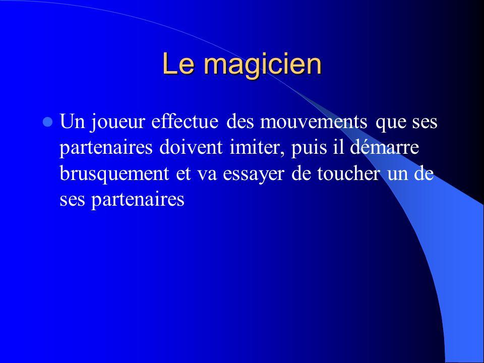 Le magicien Un joueur effectue des mouvements que ses partenaires doivent imiter, puis il démarre brusquement et va essayer de toucher un de ses parte