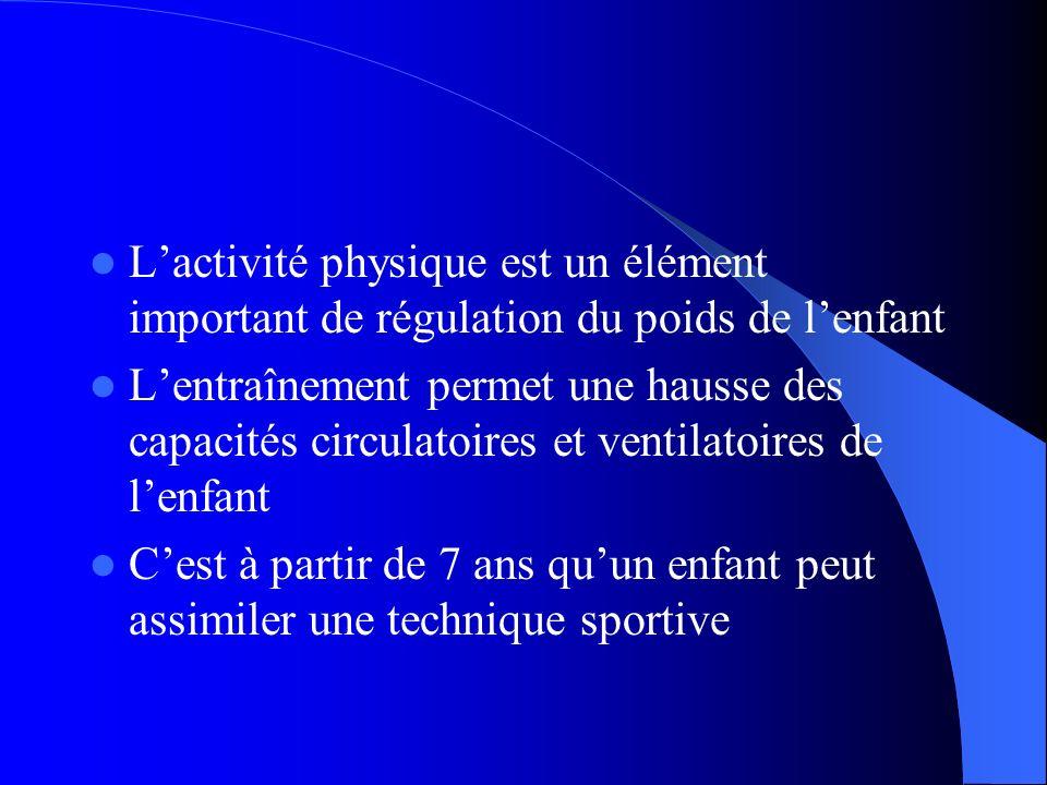 Lactivité physique est un élément important de régulation du poids de lenfant Lentraînement permet une hausse des capacités circulatoires et ventilato