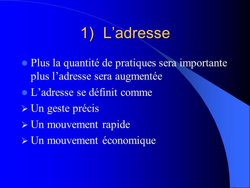 1)Ladresse Plus la quantité de pratiques sera importante plus ladresse sera augmentée Ladresse se définit comme Un geste précis Un mouvement rapide Un