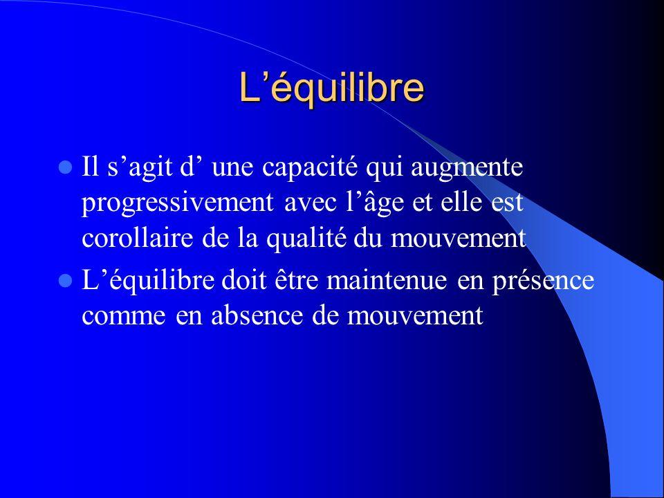 Léquilibre Il sagit d une capacité qui augmente progressivement avec lâge et elle est corollaire de la qualité du mouvement Léquilibre doit être maint