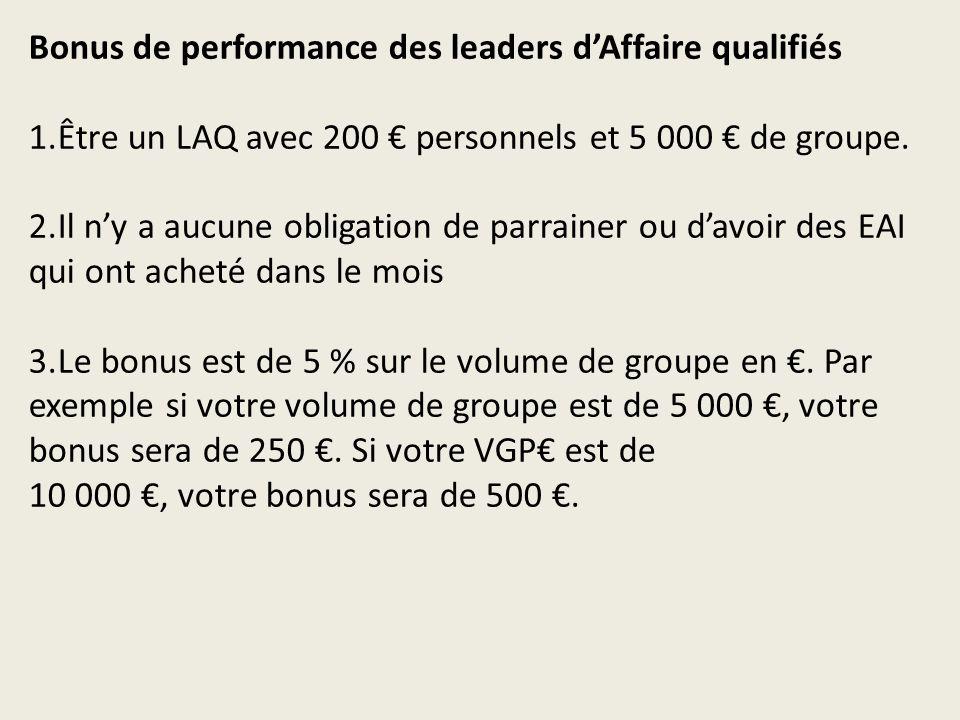 Bonus de performance des leaders dAffaire qualifiés 1.Être un LAQ avec 200 personnels et 5 000 de groupe.