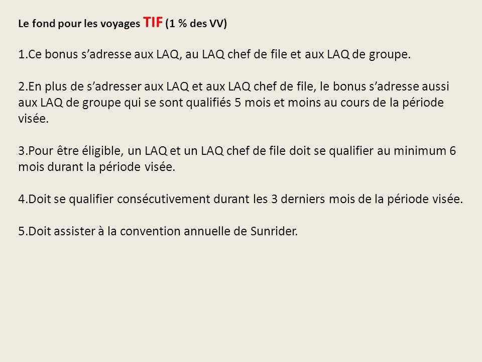 Le fond pour les voyages TIF (1 % des VV) 1.Ce bonus sadresse aux LAQ, au LAQ chef de file et aux LAQ de groupe.