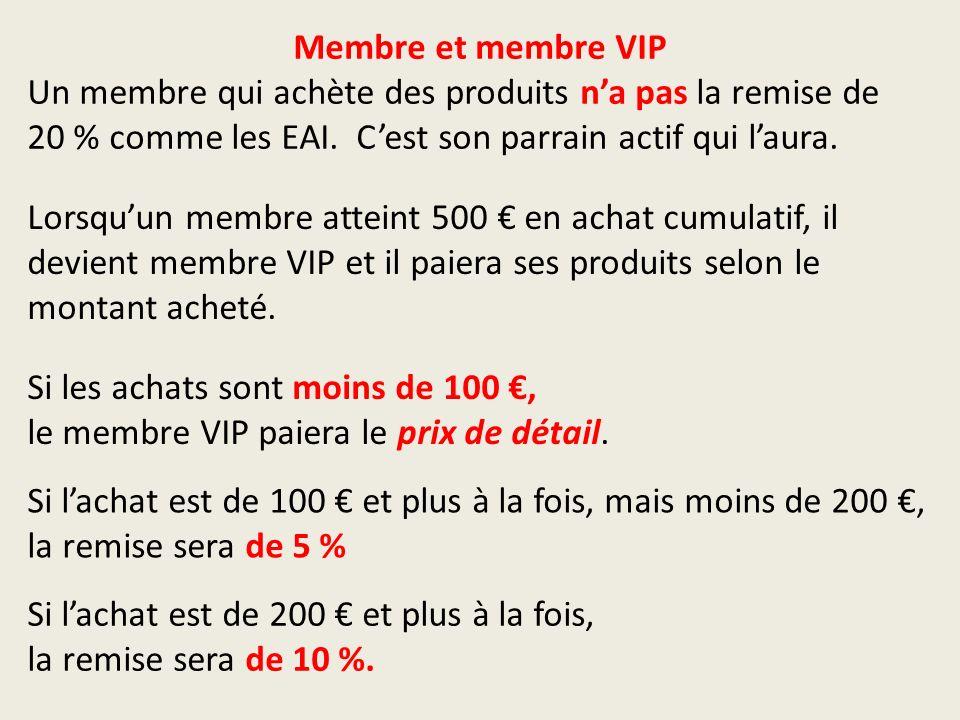 Membre et membre VIP Un membre qui achète des produits na pas la remise de 20 % comme les EAI.
