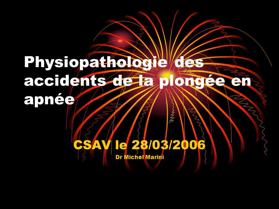 Physiopathologie des accidents de la plongée en apnée CSAV le 28/03/2006 Dr Michel Marini