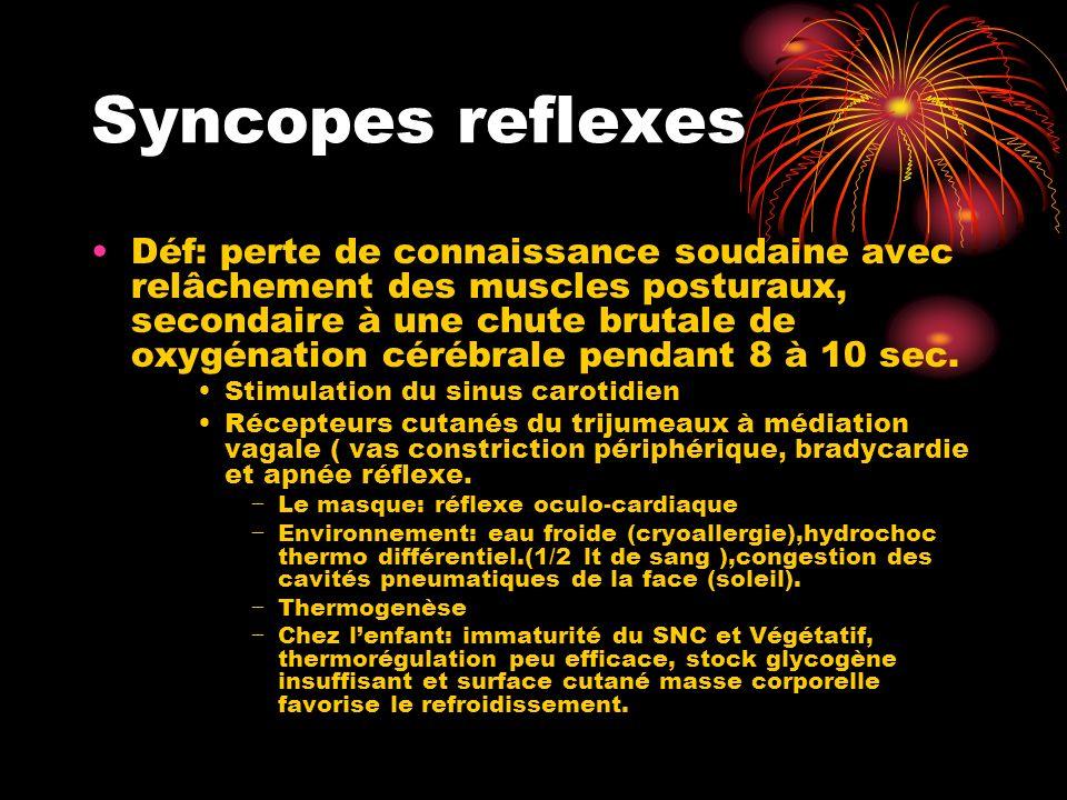 Syncopes reflexes Déf: perte de connaissance soudaine avec relâchement des muscles posturaux, secondaire à une chute brutale de oxygénation cérébrale