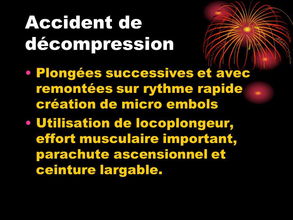 Accident de décompression Plongées successives et avec remontées sur rythme rapide création de micro embols Utilisation de locoplongeur, effort muscul